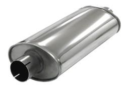 Demper Big 63 Ovaal 115/185 mm, lengte 420 mm Ø 63,5mm (2,50 inch) RVS