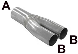 SIMONS Y buis A= 63,5 mm, B= 50,8 mm