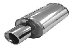 Demper Ellips 76 met eindstyling 90x120 mm RVS Ovaal 140/220 mm, lengte 670 mm Ø 76mm (3,00 inch)